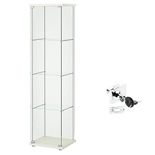 Ikea Detolf Glass Curio Display Cabinet White, Lockable, Lock Is Included by IKEA