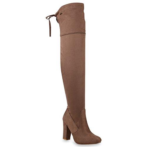 Stiefelparadies Damen Stiefel Langschaftstiefel Overknees Glitzer Schuhe  Flandell Khaki Schleifen Brooklyn