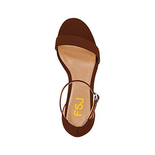 Fsj Sandali Donna Estate Cinturino Alla Caviglia Open Toe Tacco Basso Confortevole Scarpe Da Passeggio Taglia 4-15 Us Marrone Opaco