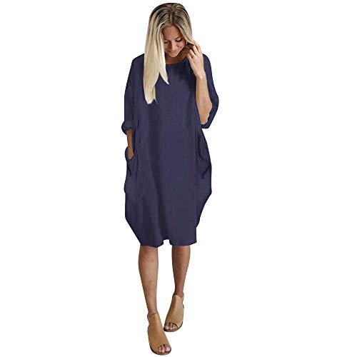iLUGU Neutral Knee-Length Dress for Women Long Sleeve Boatneck Solid Color Pocket Long Tops Plus Size Navy