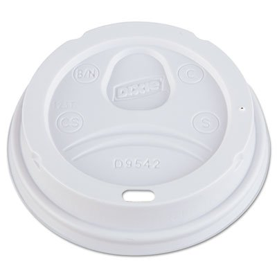 Dome Drink-Thru Lids, Fits 12-16oz Paper Hot Cups, White, 1000/Carton, Sold as 1 Carton, 1000 Each per (Domed Coffee Cup Lids)