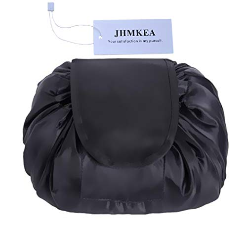 Cosmetic Bag for Women - Quick Make Up Bag Lazy Drawstring Makeup Bag Opens Flat Large Toiletry Bag Makeup Pouch Christmas Gifts for Women Girls