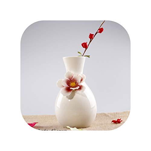 Fairy-Margot Colorful Porcelain Vase Ceramic Living Room Ornaments Decorative Wedding Flower Vase Simple Modern Crafts Flower Vase,White