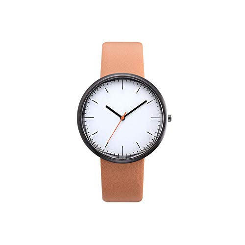 Women Watch Gray Contrast Leather Quartz Watch Watches Lovers Unisex Casual Ladies Wrist Watch Clock,Brown 2]()