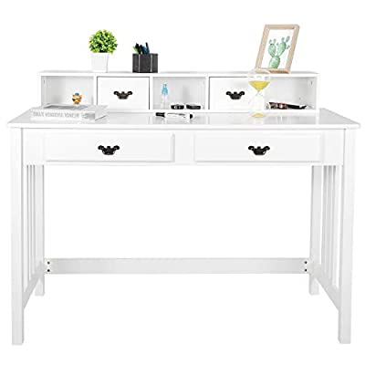 ZENY Writing Desk Computer Desk Home Office Furniture Student Desk Vanity Table with Detachable Hutch Spacious Workstation with Drawers - STABLE CONSTRUCTURE -- The 4 legs of this writing desk are made of solid wood which is durable and natural friendly and will last for a long build. The beautiful white finish gives this desk a high end look. LARGE STORAGE SPACE -- This computer desk has 4 drawers and 3 rooms ,plenty of handy storage providing large space for collection and storage. Make your desktop tidy and clean and everything is each to reach,say goodbye to mess REMOVABLE SHELF -- The tabletop shelf can be removable. Remove the shelf,you'll get a spacious tabletop, Large space for your computer,laptop or paperwork. Great workstation - writing-desks, living-room-furniture, living-room - 31bRRYQurYL. SS400  -