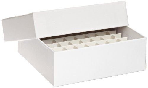 "Globe Scientific 3090-1 Cardboard Storage Box for up to 2"" Tall x 15mm Wide Tubes, 64 Place, 8x8 Format, 9x9 Format, 134mm Length, 134mm Width, 47mm Height"