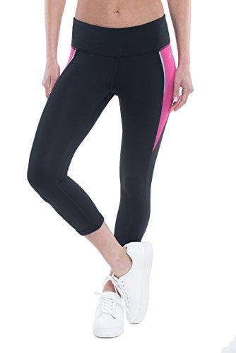 Penn Women's Capri Legging - Spandex Athletic Compression Tights - Swoop Black/Verry Berry, Medium