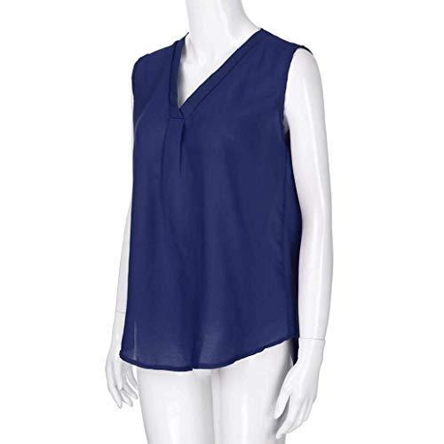 Tee Femme Mousseline sans Shirt Vetement Cou Marineblau paules Confortable Manches Mode Basic Tshirt Nues Haut V Et Uni Manche Elgante Tops Casual Irrgulier WFcdI8qd