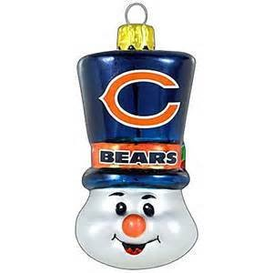 Chicago Bears Blown Glass Snowman Top Hat Christmas Tree Ornament