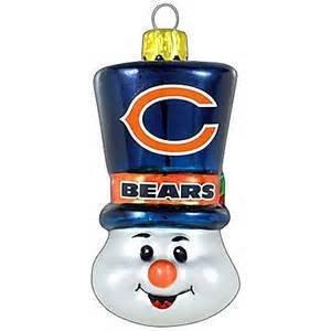 Chicago Bears Blown Glass Snowman Top Hat Christmas Tree Ornament - Top Hat Blown Glass Ornament