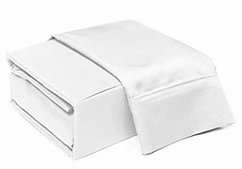 VGI Linen Split-King: Adjustable King Bed Sheets 5-PC Set Solid White 100% Egyptian Cotton 550-Thread-Count, Fits Mattress 8-10\