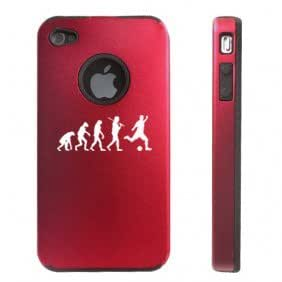 Apple iPhone 4 4S Red D5689 Aluminum & Silicone Case Cover Evolution Soccer