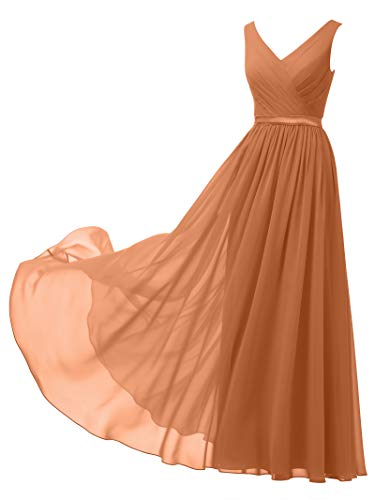 Alicepub V-Neck Chiffon Bridesmaid Dress Long Party