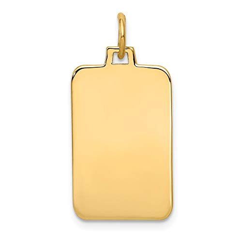 14k Yellow Gold .011 Gauge Engravable Rectangular Disc Pendant Charm Necklace Square Rectangle Fine Jewelry Gifts For Women For - Yellow 14kt Keychain Gold