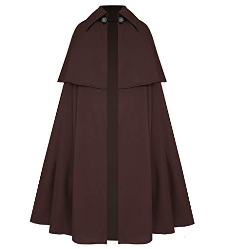 Cykxtees Victorian Vagabond Gothic Renaissance Western Historical Steampunk Renaissance Cape Cloak Brown