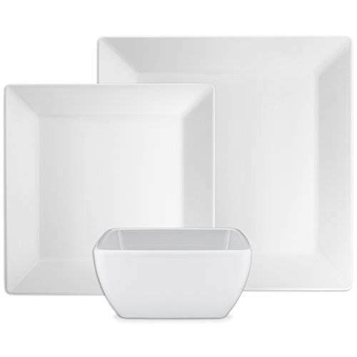 Q Squared Diamond White Collection Square 12-Piece Professional Grade, BPA-Free, Shatterproof, Melamine Dinnerware Set, Many Collection Options - Collection 8 Piece Dinner Plates