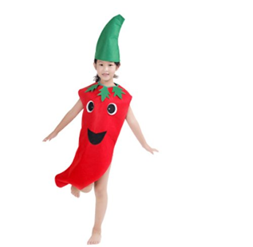 Cute Kids Performance Stage Costume One Size Halloween Christmas (Hot Pepper) Red and Green ()