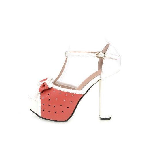 Alto Sandali Womens Colori Fiocco Voguezone009 Tacco Pu Larghi Con Tacchi Open Peep Assortiti Toe Rosso xXPZPqd