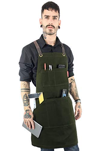 Under NY Sky Essential Forest Green Apron  Heavy Duty Waxed Canvas, Cross-Back with Split-Leg, Leather Reinforcement, Adjustable for Men, Women, Mechanic, Welding, Woodwork, Blacksmith, Server Aprons