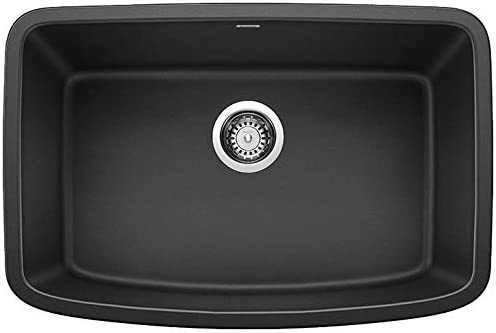 BLANCO, Anthracite 442552 VALEA SILGRANIT Single Bowl Undermount Kitchen Sink, 27 X 18