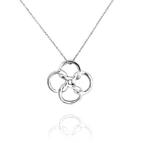 Celtic Open Clover Pendant Sterling Silver Necklace 18 Inches