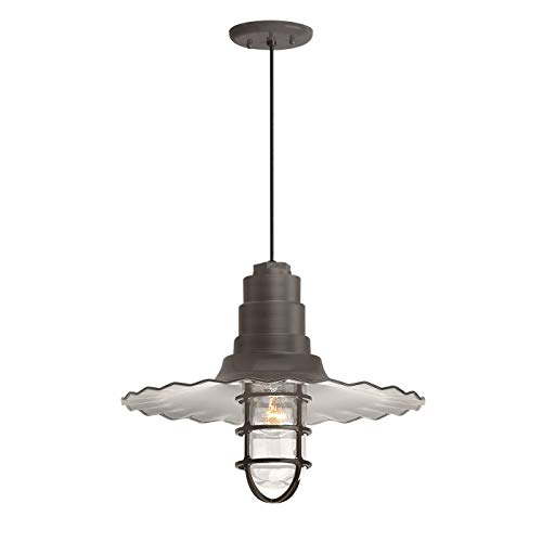 Troy RLM 5DRW18MCGGTBZ-BC Radial Wave Outdoor Pendant with Wire Guard-18in Clear Glass, 18