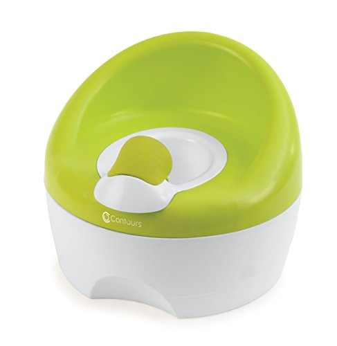 Contours Bravo 3-in-1 Potty System - Potty Chair, Toilet Trainer, Step Stool All in One, Removable High Soft Splash Guard, Slip Resistant Surface, Great Potty for Boys, Easy to Clean, Lime ()
