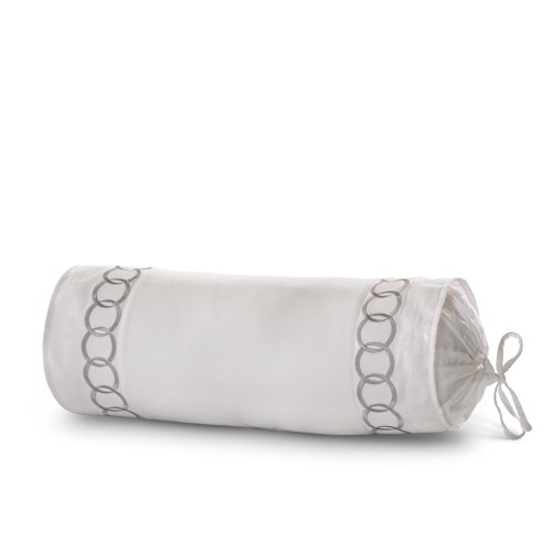 Roxbury Park Rings White with Silver Embroidered Neck Roll - Embroidered Ring Pillow