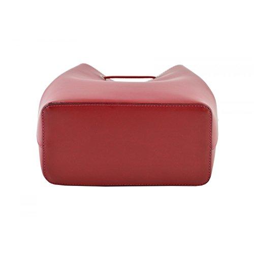 Borsa A Secchiello In Vera Pelle Colore Rosso - Pelletteria Toscana Made In Italy - Borsa Donna