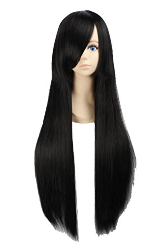 Angelaicos Unisex 80cm Various Color General Anime Cosplay Costume Party Halloween Natural Full Wig Long Straight 31 Inches (Black)]()
