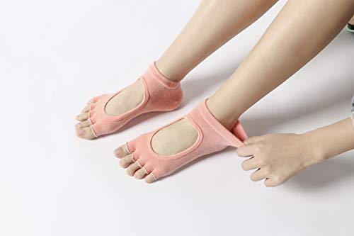 Instep Bar (IVSO Yoga Socks for Women Non Slip, Anti Skid Open Toes and Instep Yoga Socks for Pilates Ballet Barre Dance Socks (Orange))