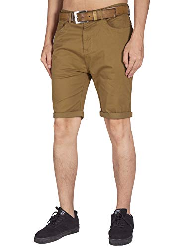 ITALY MORN Men's Chino Classic Twill Casual Shorts S Brown