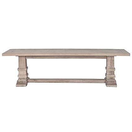 Miraculous Amazon Com Maklaine Large Dining Bench In Stone Wash Inzonedesignstudio Interior Chair Design Inzonedesignstudiocom