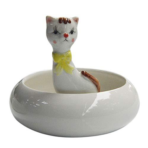 Calunce White Ceramic Cute Animal Ornament Succulent Plant Pot Tabletop Decorative Planter Persian cat