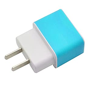 Aobiny LED USB Wall Home Travel AC Charger Adapter For S7 US Plug (Sky Blue)
