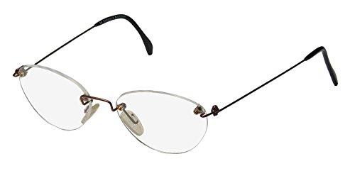 Ice 3 Mens/Womens Designer Rimless Classic Shape Frameless Rare Elegant Eyeglasses/Spectacles (51-18-140, Brown)