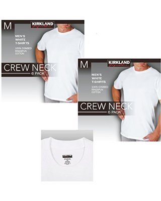 Kirkland Signature Mens Crew Neck 6 Pack,White,Large