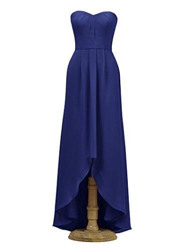 Alicepub Robe De Demoiselle D'honneur Femmes Robe De Bal De Soirée Bustier Robe De Soirée Haut-bas Bleu Royal