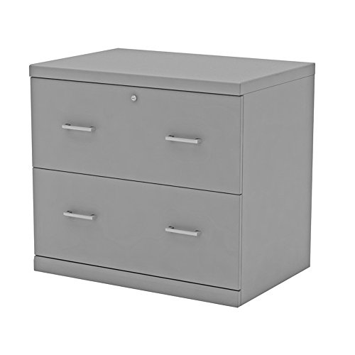 Lateral File Cabinet Filling Organizer with 2 Storage Drawers and Safety Lock (Gray Lateral Storage Cabinet)