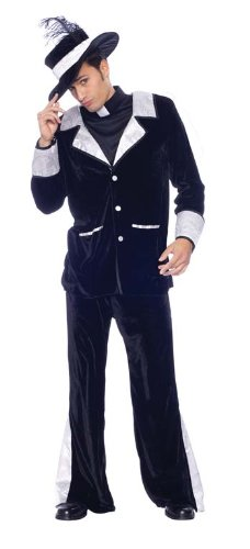 Mario Chiodo Men's Father Pimp Outfit Clerical Theme Party Halloween Fancy Costume, L (42-44) ()