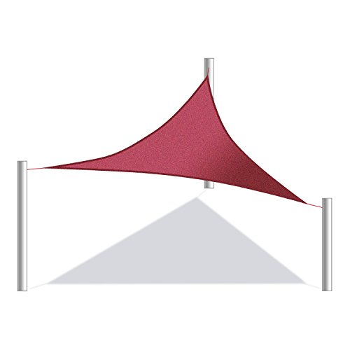 ALEKO Triangular 16.5 X 16.5 X 16.5 Feet Waterproof Sun Shade Sail Canopy Tent Replacement, Burgundy Color