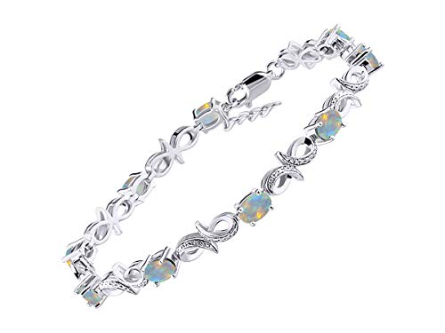 (Stunning Exotic Ethiopian Opal & Diamond Infinity Tennis Bracelet Set in Sterling Silver - Adjustable to fit 7