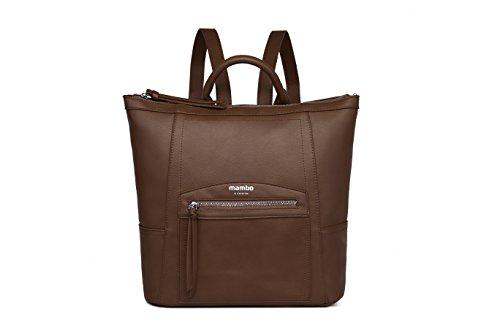 y Ocuro mujer OTROS efecto moda vintage MAMBO de mochilas plateada MUNDOS Marrón metalizada casual DE mochilas de piel vestir fgBxwq4S