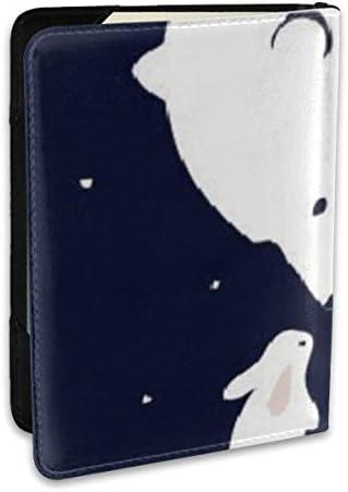優しい 白い ベア うさぎ パスポートケース メンズ レディース パスポートカバー パスポートバッグ ポーチ 6.5インチ PUレザー スキミング防止 安全な海外旅行用 収納ポケット 名刺 クレジットカード 航空券