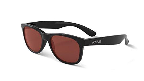 REKS Polarized Unbreakable SEAFARER Sunglasses, Black Frame, Rose-Amber Lens