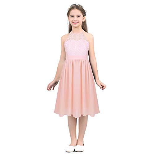 iEFiEL Girls Halter Lace Chiffon Flower Wedding Bridesmaid Dress Junior Ball Gown Formal Party Pageant Maxi Dress Pink Knee Length 12