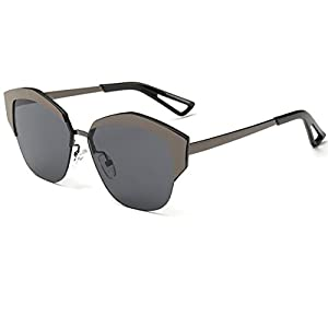 Heartisan Women's Fashion Cat Eye Half Frame Semi-rimless Sunglasses C2