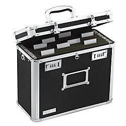 Portable File Box - Vaultz Locking File Chest, Letter Size, Black (VZ01187)