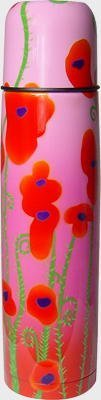 "Pylones Hot or Cold Ladies Coffee Travel Thermos Bottle; ""Pink Poppy Flower"", 16 Ounce"