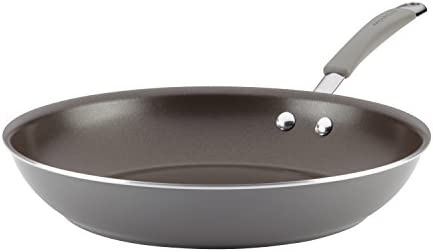 Rachael Ray 16805 Cucina Cookware Porcelain Aluminum Nonstick 12.5-Inch Skillet, Small, Sea Salt Gray